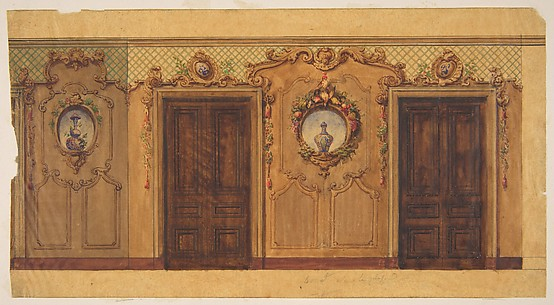 Design for a room with double doors decorated with garlands of fruit and flowers, scrolls, and lattice work