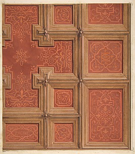 Design for the decoration of a coffered ceiling ornamented with the name
