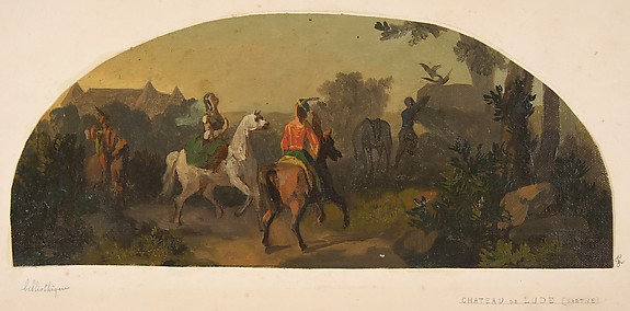 Mural design picturing riders in a landscape  for a lunette in the library of the Chateau de Lude (Sarthe)