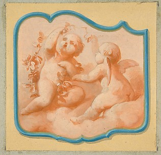 Two putti on clouds