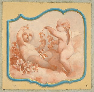 Two putti seated on clouds