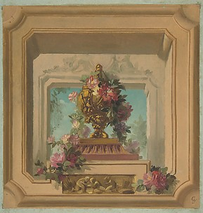 Trompe l'oeil design for a ceiling