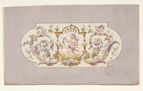 Design for a ceiling with a putto set in a border