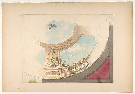 Design for a ceiling with trompe l'oeil balustrade and sky
