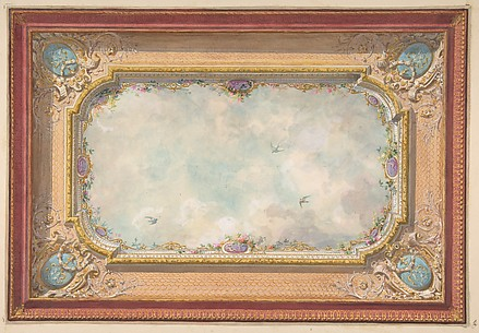 Design for a ceiling with trompe l&#39;oeil sky