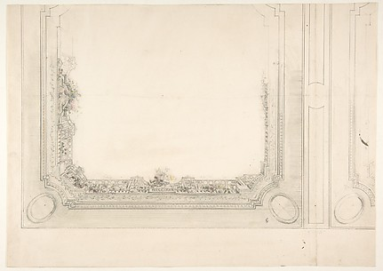 Partial design for a ceiling to be painted with a trompe l'oeil iron railing and roses