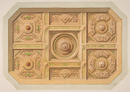 Design for a paneled ceiling with painted decoration