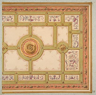 Alternative designs for the painted decoration of a ceiling