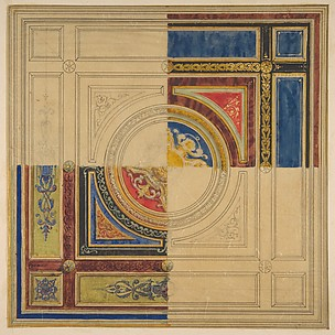 Design for a paneled ceiling with alternative decorations