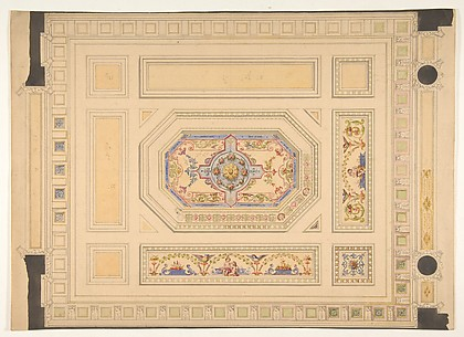 Design for a paneled ceiling painted with putti, birds, and floral motifs