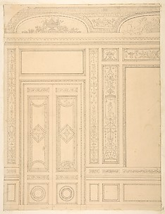 Elevation of an interior showing a paneled wall and double doors decorated in rococco sty.e