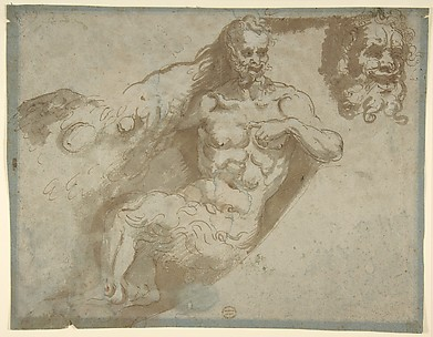 Seated satyr, with enlarged head of same (recto); head of a woman (verso)