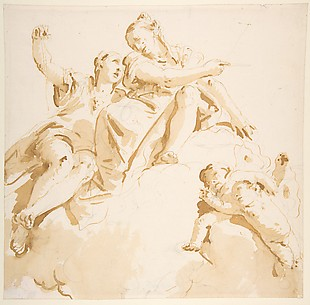 Two Women Seated on a Cloud, and Two Putti