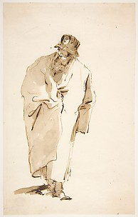 Standing Man in a Full Coat and High Hat with a Medaillon