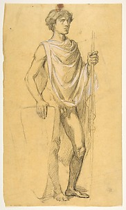 Soldier (middle register; study for wall paintings in the Chapel of Saint Remi, Sainte-Clotilde, Paris, 1858)