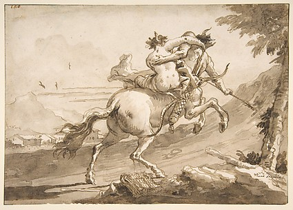 Back View of a Centaur Abducting a Satyress