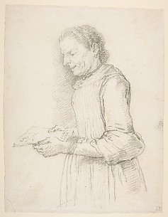 Woman in Half-Length, Profile View Facing Left and Reading a Piece of Paper Signed