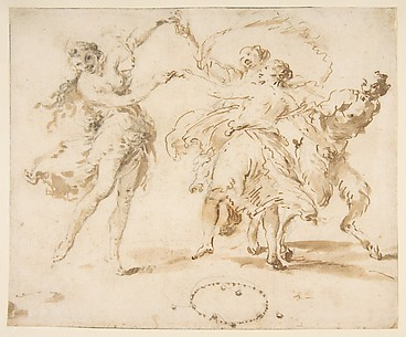 Three Dancing Nymphs and a Satyr