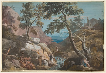 Mountainous Landscape with Hermits