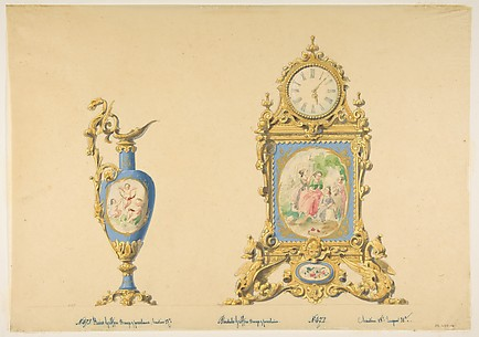 Designs for an Ewer and Clock