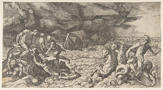 Neptune calming the Tempest Aeolus raised against the Fleet of Aeneas