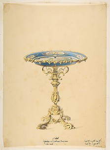 Design for a Round Porcelain Table with Polished Bronze
