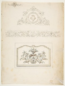 Border and Three Pediments (recto), Fifteen circular Designs (verso)