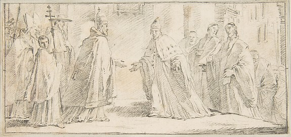 Illustration for a Book:  Meeting Between a Pope and Doge