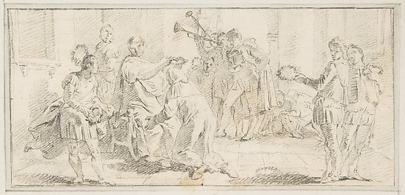 Illustration for a Book:  Allegorical Scene of Coronation