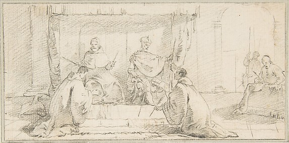 Illustration for a Book:  Two Monks Kneeling before a Doge and an Emperor (Doge Ziani and Emperor Barbarossa?)
