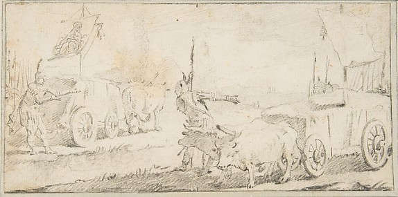 Illustration for a Book:  Soldiers Driving Ox Carts with Banners