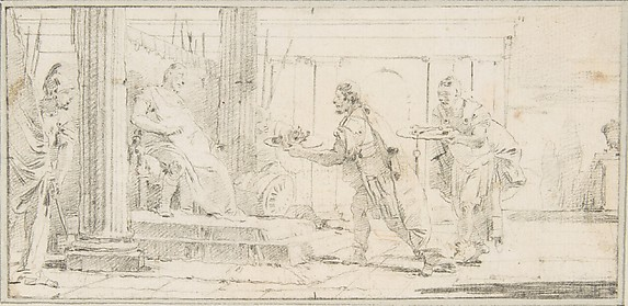 Illustration for a Book:  Soldiers Offering the Decapitated Head of a Man and Keys to a General