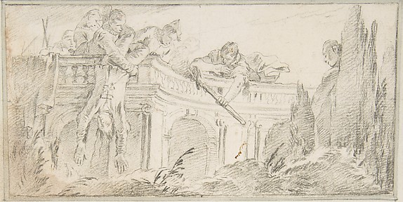 Illustration for a Book: Scene of Men Disposing of Corpse in a Garden