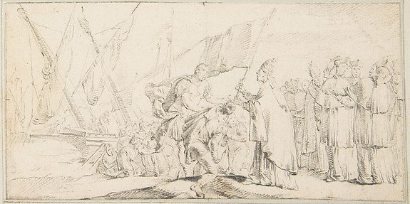Illustration for a Book:  Pope Handing a Banner to a Crusader, with Ships in the Background