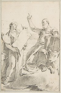 Illustration for a Book: Saint Luke with a Female Allegorical Figure