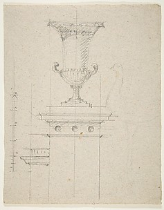 verso: Design for an urn; recto: Designs for two urns