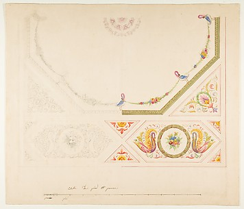 Design for a Ceiling with Swans and Cornucopias