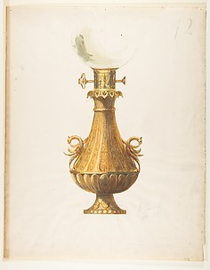 Design for a Gas Lamp with Gilt Base and Glass Globe