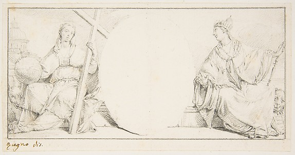 Allegorical Figures of Religion and Venice Flanking an Empty Cartouche