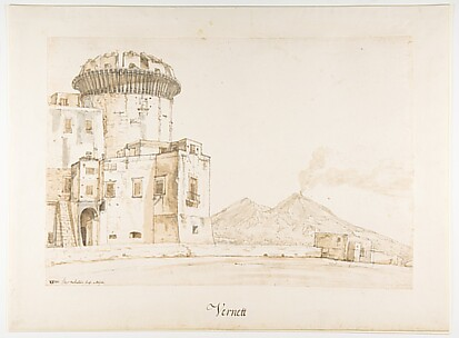 The Castel Nuovo in Naples, with a View of Mount Vesuvius