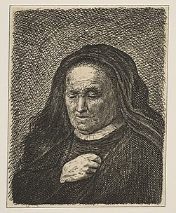 Rembrandt's Mother with Hand on Chest: Small Bust (reverse copy)