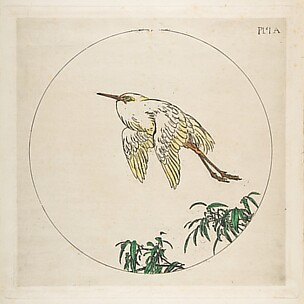 Stork Flying Above Branches (Decoration for a Plate)