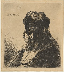 The Old Bearded Man in a High Fur Cap, with Eyes Closed