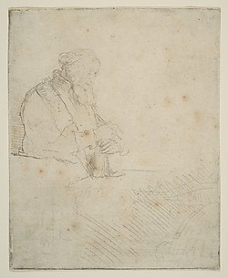 Old Man in Meditation, Leaning on a Book