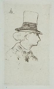 Portrait of Charles Baudelaire in profile