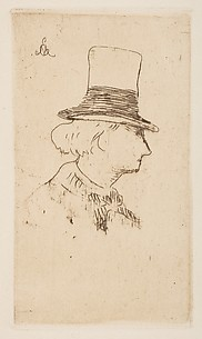 Portrait of Charles Baudelaire, in profile