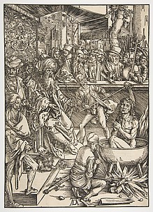 The Martyrdom of St. John, from the Apocalypse, Latin edition 1511