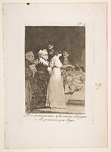 They Say Yes and Give their Hand to the First Comer (El si pronuncian y la mano alargan al primero que llega), from The Caprices (Los Caprichos), plate 2