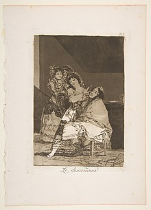 She Fleeces Him (Le descañona), from The Caprices (Los Caprichos), plate 35