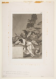 The Sleep of Reason Produces Monsters (El sueno de la razon produce monstruos), from The Caprices (Los Caprichos), plate 43